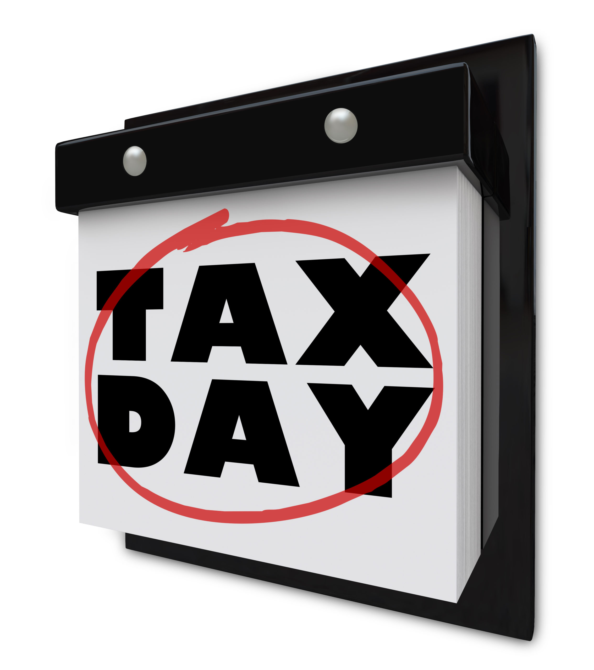 Calendar showing Tax Day