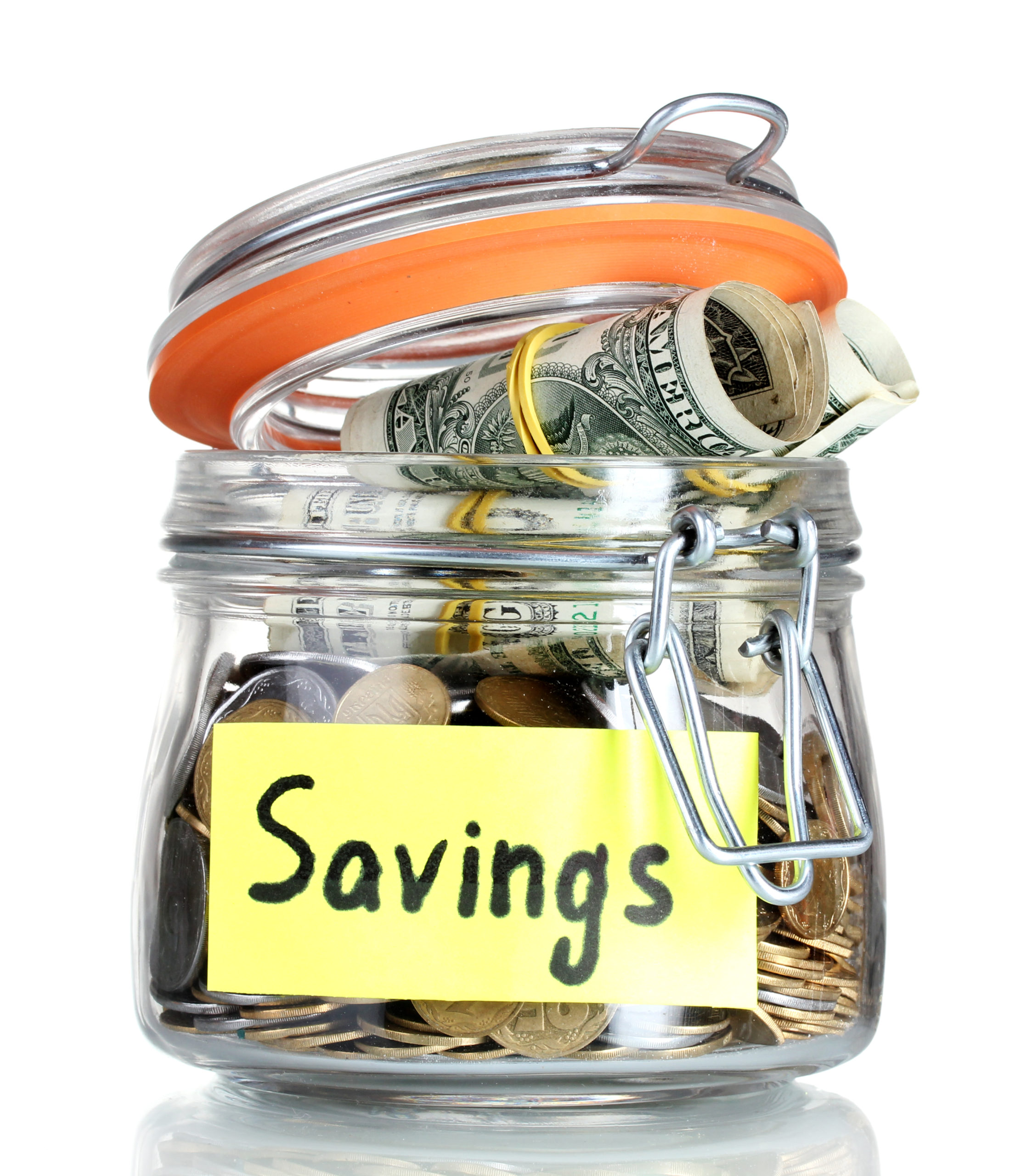 Glass Jar with the word Saving and with money on it
