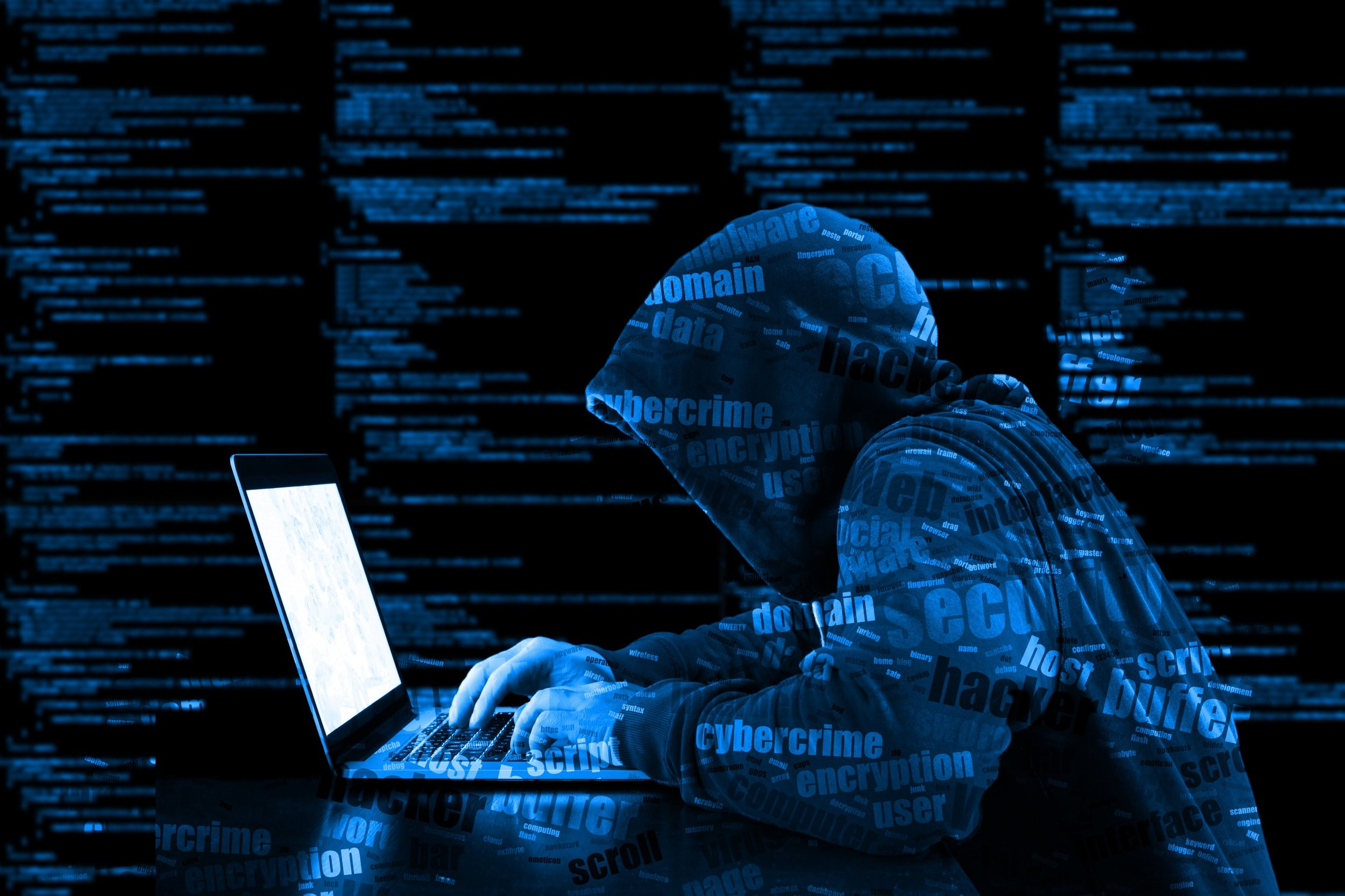Hacker in a hoodie working in a computer