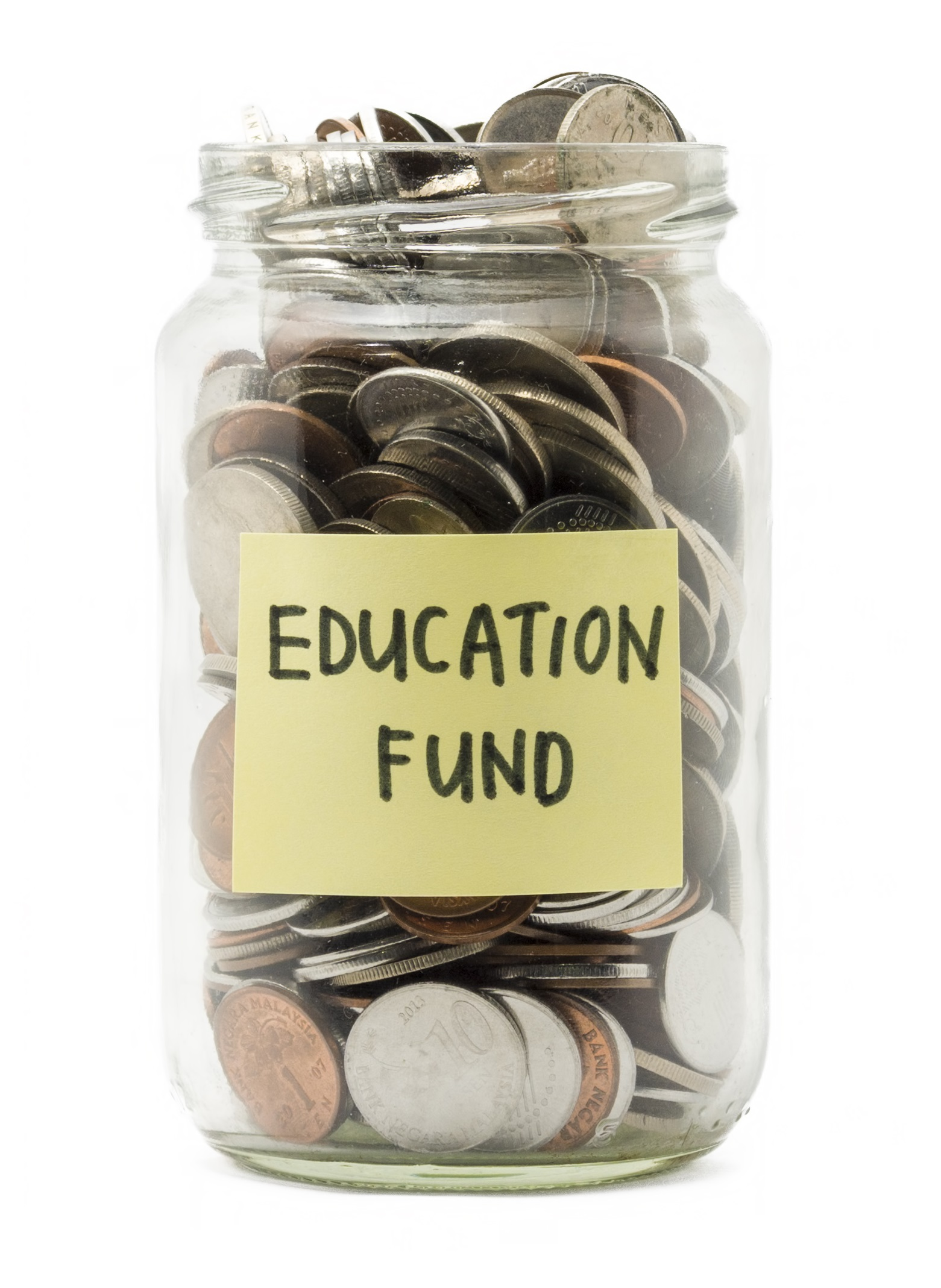 Jar with coins and a sticky not saying Education Fund