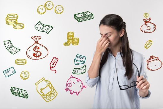 Woman worried about money