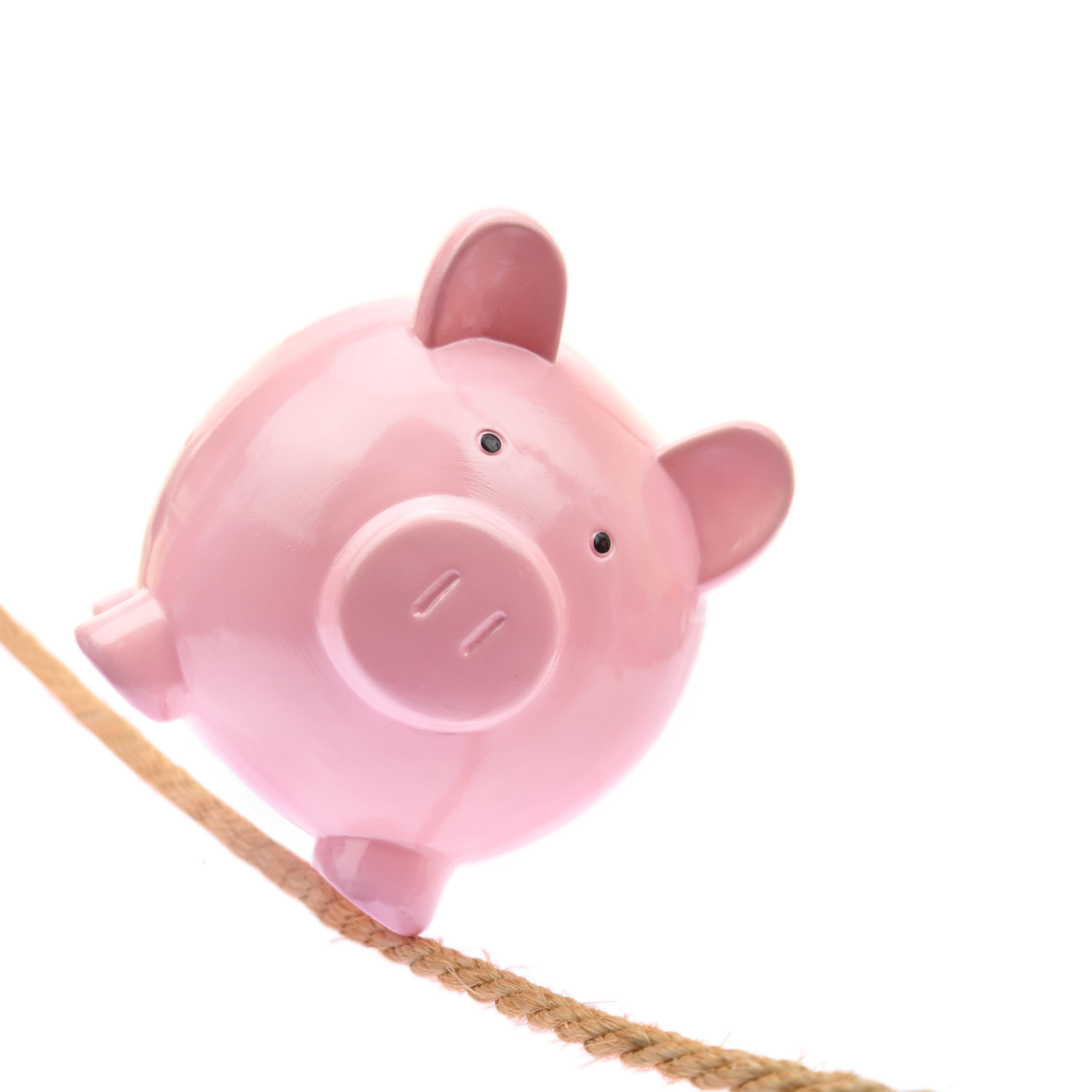 Piggy bank balancing in a rope