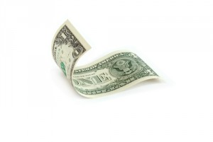 one-dollar curled bill