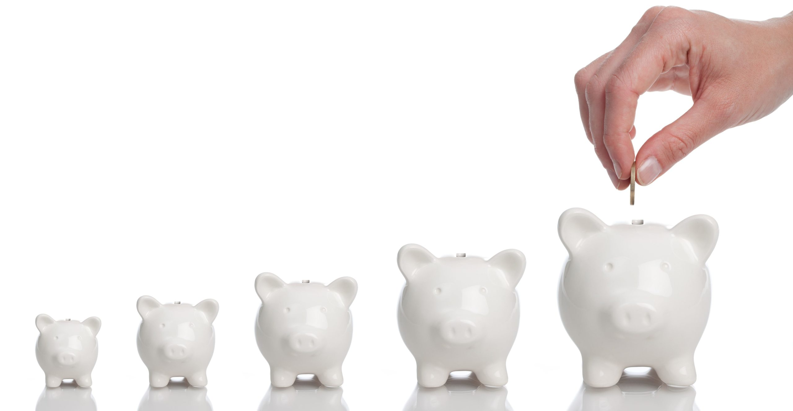 Line of piggy banks with a coin been inserted