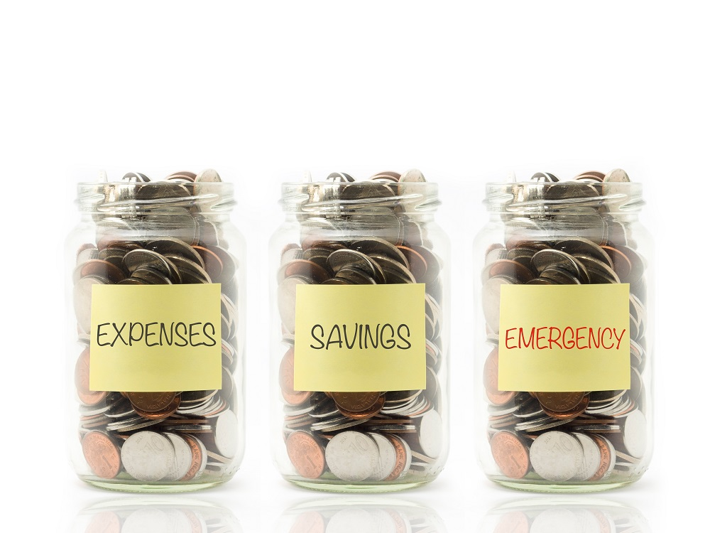 "jar labeled ""expenses"", ""savings"", and ""emergency"" and filled with coins"