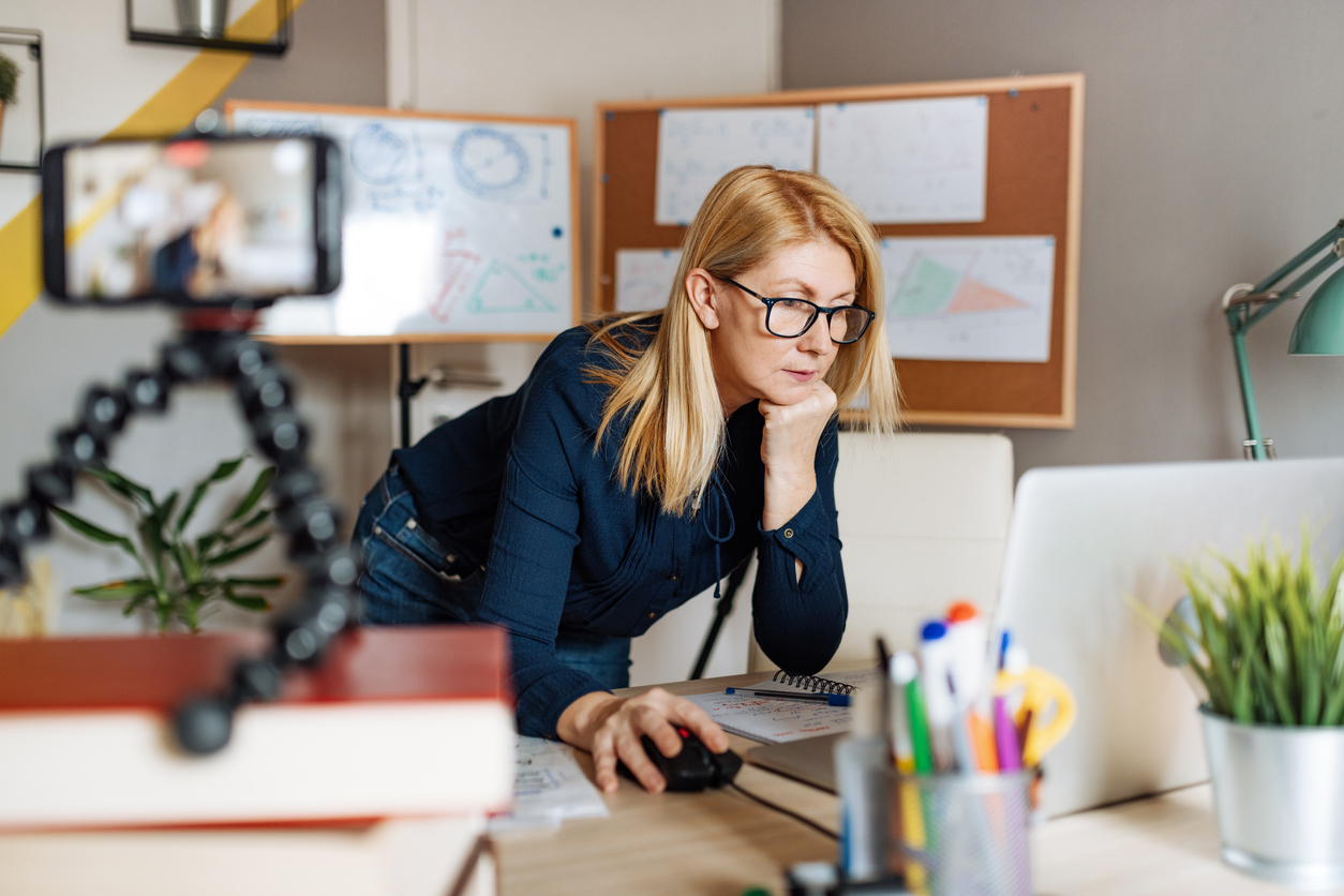 Woman researching exist planning
