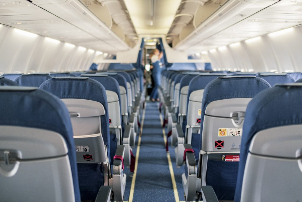 Empty airplane during pandemic